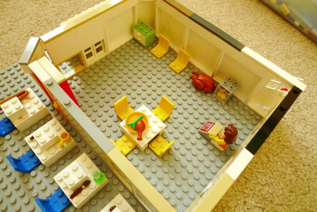 Enrique's lego art class included a large indoor space for snacks and rain backup