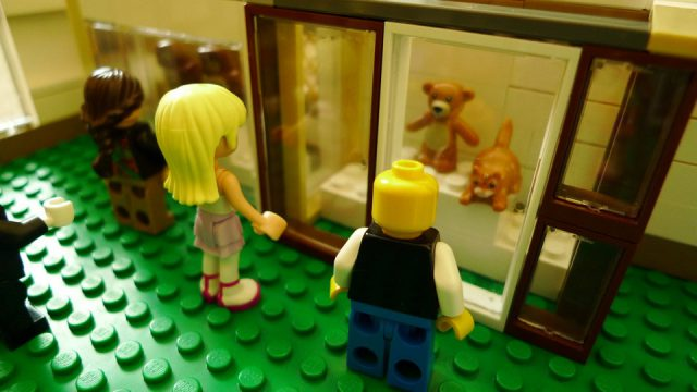minifigures looking at bear and cat on exhibit