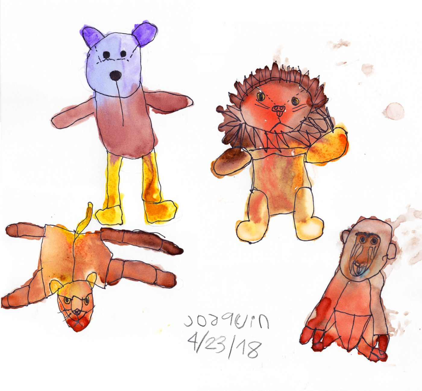 Collection of stuffies • Stuffed Animals Art class (April, 2018)