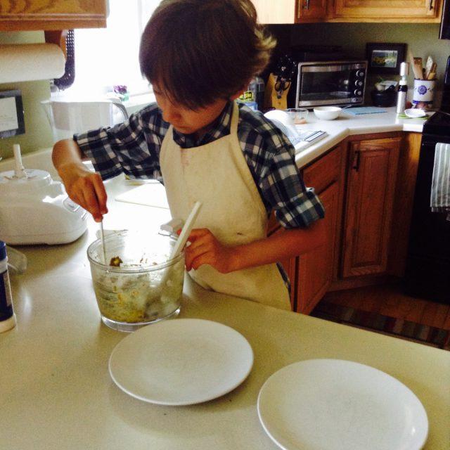 Plating his mustard mushroom dip