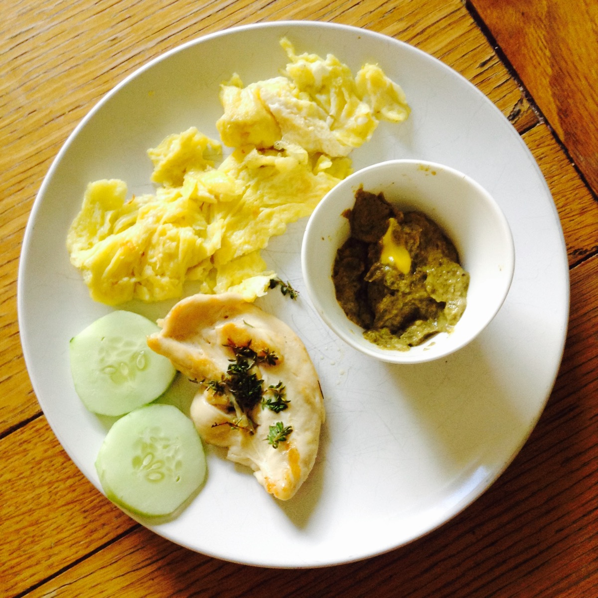 Joaquin's appetizer: Yum! The dip was a great idea and the darkness of the chicken, egg, and dip was beautifully balanced by the freshness of the cucumber.