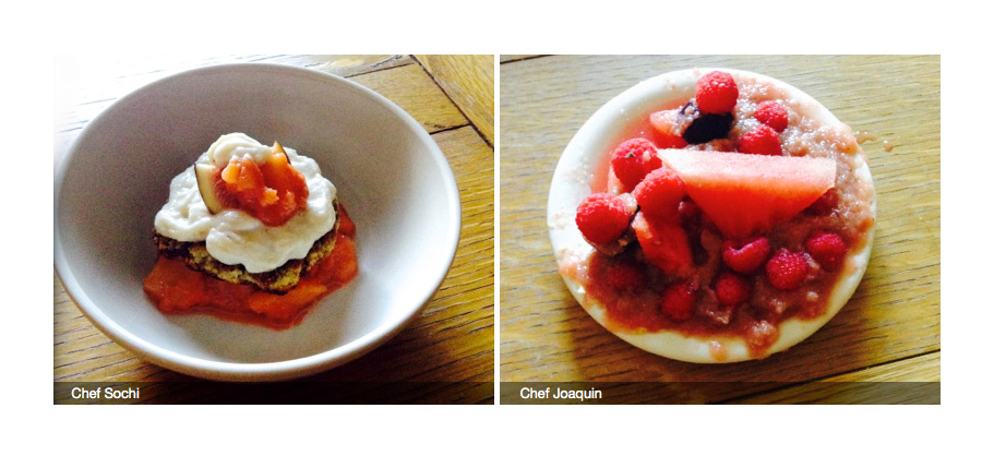 DESSERT ROUND. Joaquin tried to fix his liquid batter the best way he knows: Throwing a bunch of berries at it. Sochi won this round, but Joaquin's superior previous dishes awarded him the Chopped Champion title.