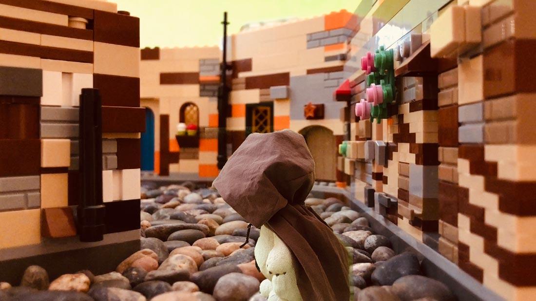 Rhegan green-screened into the Lego set for Tardar